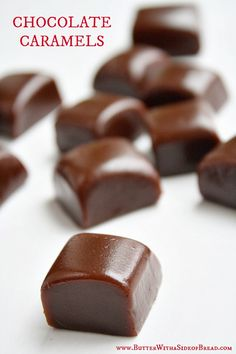 Homemade Chocolate Caramels ~ Butter with a Side of Bread #recipe #caramel