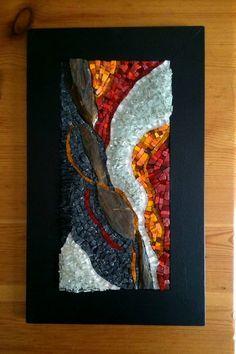 Tableau en mosaique - pièce unique - Pierre, verre et smalts : Mosaiques par destination-mosaique