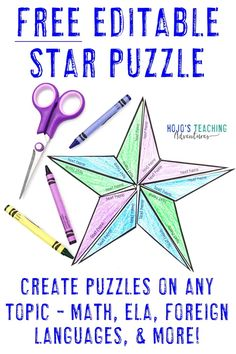 This FREE star puzzle is great to make editable activities on any topic of your choosing - math, ELA, foreign languages, or nearly any other topic. 5th Grade Classroom, Middle School Classroom, 4th Grade Math, Fifth Grade, Second Grade, Teaching Math, Math Literacy, Teaching Ideas, Teaching Tools