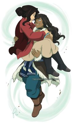 """hazurasinner: """"""""You sweep me off my feet."""" I've been dying to try drawing older Korra and Asami so here's my take of them in their thirties. 34/35 to be more exact. I love short hair on Korra but the..."""