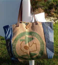Grand sac cabas en toile de jute et denim XL (sac à café)