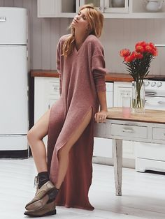 Maxin Relaxin Maxi | American made easy brushed maxi in a super cozy heavy knit.  V-neck in front and a deep plunge back.  Exaggerated side vents and dolman sleeves.      *FP Beach   *One of 9 exclusive, in-house labels.  *Effortless seaside styles.