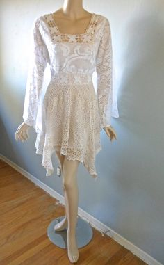 BoHo LACE CROCHET Dress Hippie Wedding Dress Cream by MuseClothing