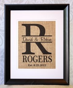 Personalized Burlap Monogram Family Name ... lovely in every way!! http://www.myvinyldesigner.com/Products/alphabet-6.aspx