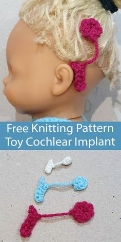 Free Knitting Pattern Cochlear Implant for Toys The Cochlear Implant is a device that helps to provide a sense of sound to a person who has severe hearing loss. This toy accessory for dolls, plushies, or other toys is an easy way to add inclusivity and diversity to play. This pattern includes 3 sizes of implant. Great use for scrap DK yarn. Designed by Victoria Brown. Knitted Flower Pattern, Knitted Flowers, Flower Patterns, Knitting Patterns Free, Free Knitting, Easy Knitting Projects, Knit Edge, Knitting Accessories, Yarn Crafts