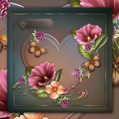 Butterflies and Blooms on Craftsuprint designed by Chris Harland - A step by step mini kit with heart shaped frame, butterfly and bloom decoupage and a choice of sentiments - Now available for download!