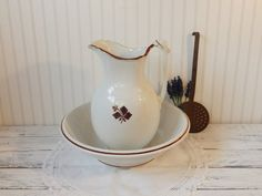 Antique ironstone Ewer Pitcher Bowl Basin by prettyvintagerestore