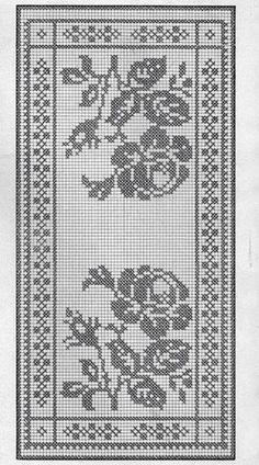 "Filet crochet chart for a rose inspired table runner. ""Filet crochet chart for a rose inspired table runner."", ""szydełko / filet na Stylowi. Art Au Crochet, Crochet Cross, Tapestry Crochet, Thread Crochet, Knit Crochet, Filet Crochet Charts, Crochet Motifs, Crochet Stitches, Crochet Doilies"
