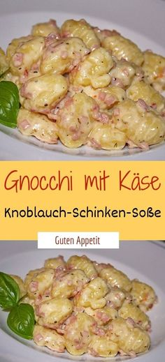 Gnocchi with cheese, garlic and ham sauce ? - Essen - : Gnocchi with cheese, garlic and ham sauce ? Ham Recipes, Sauce Recipes, Potato Recipes, Pasta Recipes, Mexican Food Recipes, Chicken Recipes, Ham Sauce, Garlic Sauce, Boiled Ham