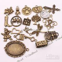Wholesale 120 Mixed Shape Charms Pendants Beads Antique Bronze Tone Pandent Fit CHAINS Necklace