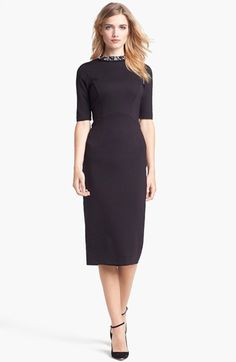 Chic just avoiding stodgy. (Ted Baker London Stretch Knit Midi Dress available at #Nordstrom)