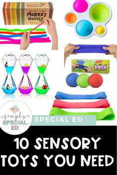 Sensory Toys You NEED! - Simply Special Ed education management languages arts studies Sensory Toys You NEED! - Simply Special Ed education management languages arts studies education Autism Education, Teaching Special Education, Autism Classroom, Physical Education, Art Education, Sensory Toys For Autism, Sensory Bins, Sensory Activities, Sensory Rooms