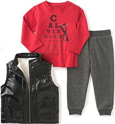 a977b4cde Calvin Klein Baby Boys' Vest with Button Front, Tee and Pants Set: Boys 2  pieces pant set -pleather vest with solid interlock top and pants