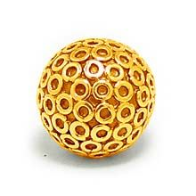 Bali Beads | Sterling Silver Vermeil-24k Gold Plated - Vermeil Round Beads, 24K Gold Vermeil on Sterling Silver B5110V