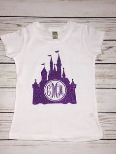 b662bff2973 Disney Castle Cinderella Castle Kids Disney Shirts Custom Disney Glitter  Castle Shirt Personalized Disney Shirt Monogrammed Shirt