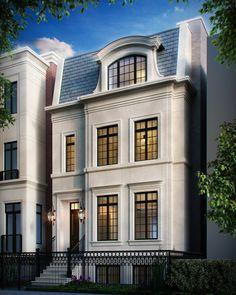 3938 Greenview Front Facade Rendering For Appraisal Modern Townhouse, Townhouse Designs, Facade Design, Exterior Design, Narrow House, Dream House Exterior, Facade House, House Facades, Classic House