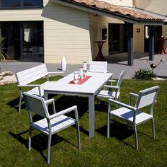 Table en alu et résine composite 6 places Blanche SUNDAY - Maison Facile : www.maison-facile.com