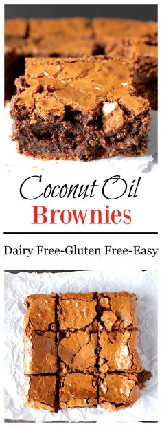 Make any occasion a hit with lactose freindly dairy free desserts Coconut Oil Brownies- super easy, gluten free, dairy free, and so amazing! These will become a favorite! Gluten Free Sweets, Gluten Free Baking, Dairy Free Recipes, Dairy Free Treats, Dairy Free Cookies, Vegan Desserts, Just Desserts, Delicious Desserts, Yummy Food