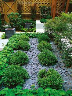 slate and buxus hedges in the garden | adamchristopherdesign.co.uk