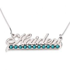 Sterling Silver Color Name Necklace with Swarovski Crystal
