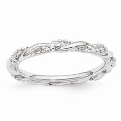 Sterling Silver Stackable Expressions Rhodium Twist Ring
