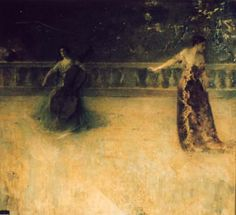 """""""The Dance - Twilight,"""" Thomas Wilmer Dewing, ca. 1922, oil on canvas, Bowers Museum."""