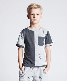 This Dodo Graphite & Gray Melange Color Block Crewneck Tee - Kids by Dodo is perfect! #zulilyfinds