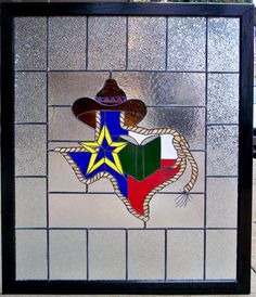 Window for a school library. Created by Glass Castles, Nacogdoches, Texas Mosaic Art, Mosaic Glass, Mosaic Tiles, Mosaics, Mosaic Projects, Stained Glass Projects, Stained Glass Art, Texas Western, Western Decor