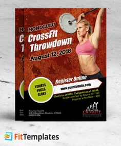CrossFit flyer template for weight lifting events on FitTemplates.com