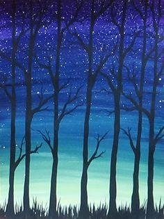 Acrylic Painting - Simple Trees Silhouette #AcrylicPainting #SilhouettePainting #TreePainting