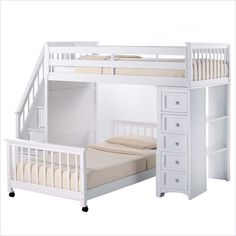 NE Kids School House Stair Loft Bed with Chest End in White - 7090-Chest