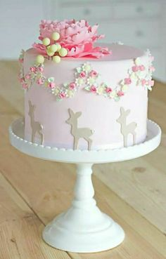 Would be a perfect baby girl shower cake for a Woodland theme! Would be a perfect baby girl shower cake for a Woodland theme! Gorgeous Cakes, Pretty Cakes, Cute Cakes, Amazing Cakes, Yummy Cakes, Girl Shower Cake, Baby Shower Cake For Girls, Girl Cakes, Fancy Cakes