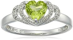 Sterling Peridot and Diamond Accent Open Halo Heart Ring, Size 6