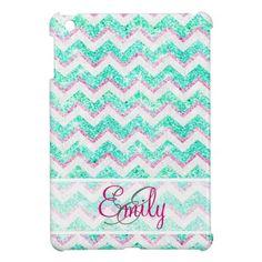 Monogram Chevron Girly Teal Pink Glitter iPad Mini Cover