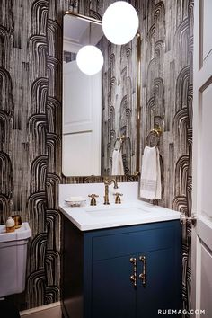 An Eclectic Greystone in Chicago | Rue. Featuring Kelly Wearstler's Crescent wallpaper.