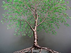 Bright Green Summer Beaded Bonsai Wire Tree Sculpture 10""