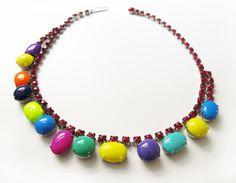 Choker & Halskorsetts - M's Handlackierte Vintage Strassstein Halskette - ein Designerstück von zitruss bei DaWanda