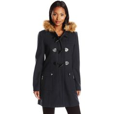 Tommy Hilfiger Women's Wool Utility Duffle Coat with Fur Trim Hood ($196) ❤ liked on Polyvore featuring outerwear, coats, wool coat, wool duffle coat, woolen coat, duffle coat and tommy hilfiger coats