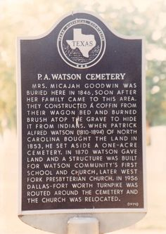 P.A. Watson Cemetery, 1024 N. Watson Road (frontage road Texas 360).