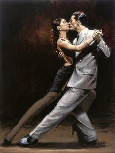 tango - look at those lines, the intimacy, the passion - Artist: Fabian Perez…