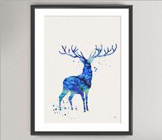 STAG Nº1 Watercolor Art Print  Animal Deer Ink by oinkartprints