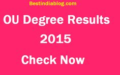 Osmania OU Degree Results Ba Bcom Bsc 1st 2nd 3rd Year Check Here Manabadi