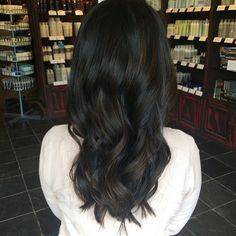 Soft & super subtle balayage to give a little dimension to this dark haired beauty! :: RedBloom Salon