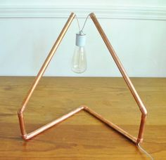 Custom Made Copper Tube Lamp With Vintage Bulb Pipe Lighting, Garage Lighting, Copper Lighting, Cool Lighting, Lampe Tube, Copper Candle Holders, Lamp Inspiration, Copper Lamps, Steampunk Lamp