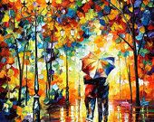 Under One Umbrella — PALETTE KNIFE Oil Painting On Canvas By Leonid Afremov