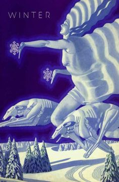 1931 WELSH FOUR SEASONS - ART DECO POSTER WINTER HOUNDS ICE QUEEN COMETH CHILD