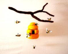 Needle Felted Beehive bee Mobile/ Nursery Mobile/ Eco-Friendly/ Bees/ Sweet Dreams/  Handmade/ Dreamy
