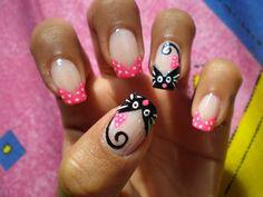 Cat Nail Art, Animal Nail Art, Cat Nails, Girls Nail Designs, Gel Nail Art Designs, Nails Design, Fabulous Nails, Gorgeous Nails, Ruby Nails