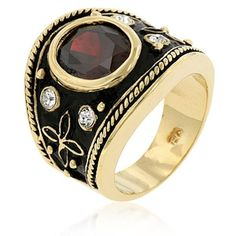Gold Plated Simulated Garnet Deco Cocktail Ring Red Cubic Zirconia Size 6 USA #Unbranded #Cocktail