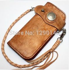 Vintage Japan Handmade Genuine Leather Biker Bifold Men Wallet Purse with Leather Chain Red Moon Style